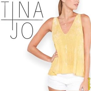 Tina + Jo V-Neck Pintuck Tank Top Size Small NWT